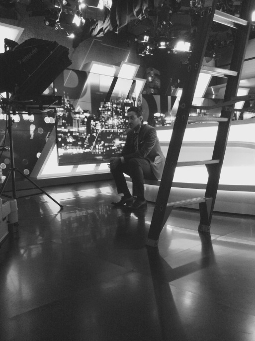 Waleed Aly on the set of The Project.